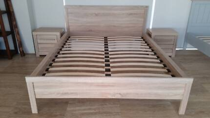 Queen Bed Frame with Matching Bedsides - BRAND NEW