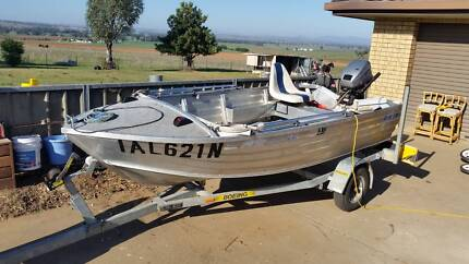"12"" Tinny with 15HP on Gal trailer"