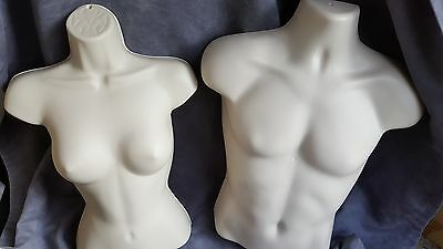 4 Mannequins 2 Male 2 Female Torso Forms Flesh Hard Plastic W Hook