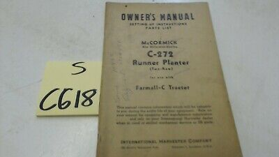 Mccormick C-272 Runner Planter 2 Row Owners Manual Parts List