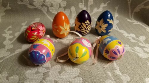 7 Wooden Easter Eggs hand painted and decorated