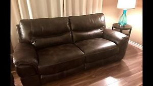 New 3pce stationary brown leather sofa, love and chair $2500