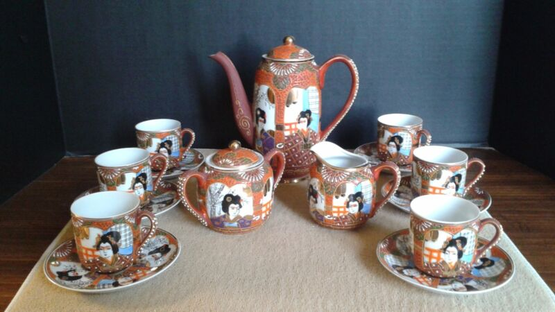 Vintage Japanese Porcelain Handpainted Lithophane Tea Set