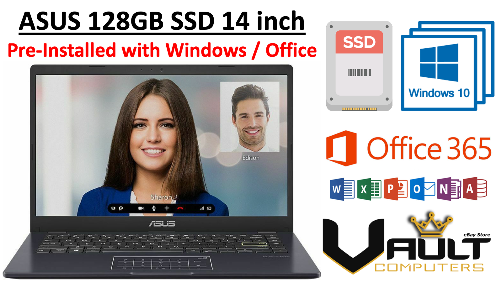 Laptop Windows - Laptop 14in ASUS Laptop New Quick Fast 128GB SSD + 1TB Windows 10 Home & Office