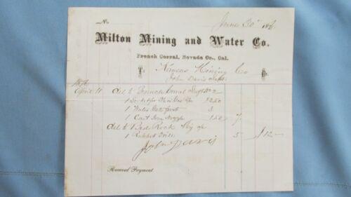 Rare 1870 French Corral Nevada County California Milton Mining & Water Co. Bill