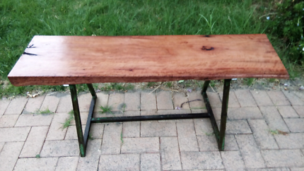 Bespoke tree trunk garden bench or table - River Gum and Steel