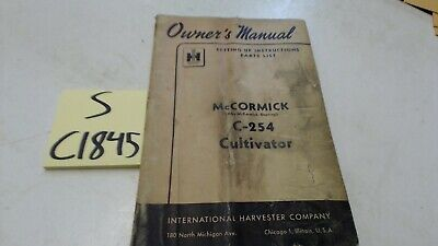 Mccormick C-254 Cultivator Owners Manual Parts List