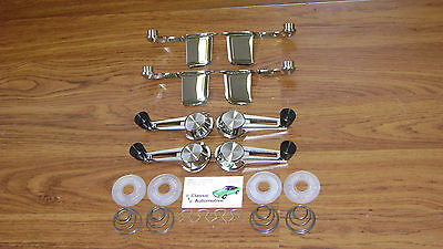 Door Handle Window Cranks 20pc Set Black Knob 61-64 Chevy w/ washers + springs