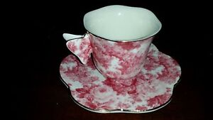 Butterflies Pink Chintz Roses Demitasse Cup and Saucer Formalities by Baum Bros