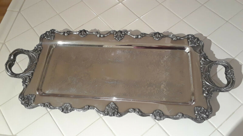 W & S Blackinton? Silver Plate Victoria  Footed Serving Tray 26""