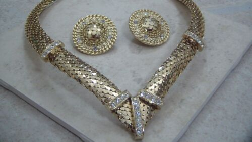Whiting & Davis Unsigned Necklace and Clip Earrings, Mesh, Rhinestones