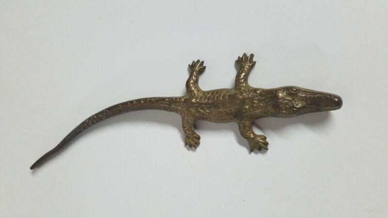 "Vintage Brass Alligator Crocodile Figurine Paperweight 10"" Long Unusual"