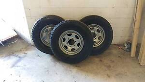 3 x 6 stud steel sport wheels with tryes Gaven Gold Coast City Preview