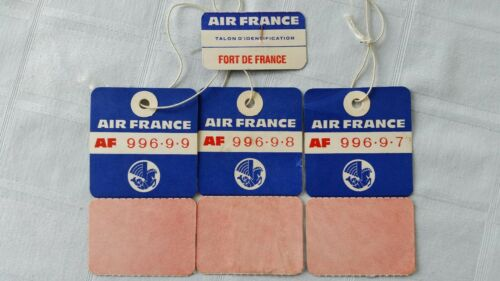 Vintage Lot Air France Airlines Baggage and ID tags