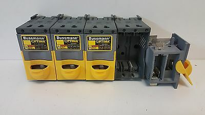 LOT OF (4) GUARANTEED GOOD USED! BUSSMANN 3-POLE 30A 600V FUSE HOLDERS OPM-1038R