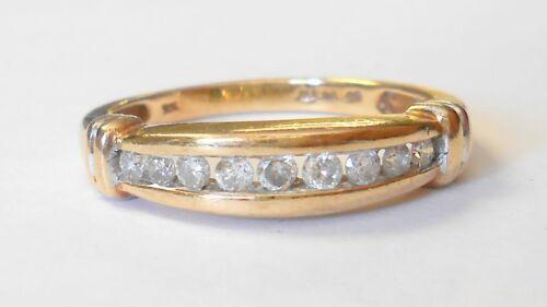Vintage 9 Diamond .25TCW 10K Yellow Gold Band Ring Size 7.25
