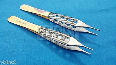 2 Adson Dressing Serratedtissue 1x2t Plastic Surgery Forceps 4.75 Gold Handle
