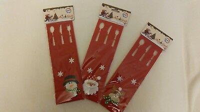 12 portaposate natalizi panno feltro rosso, 3 fantasie all'interno della conf.