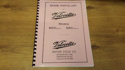 VELOCETTE MAC & MOV RIGID FRAME MODELS PARTS MANUAL HARD COPY 1945-60 - VELP06