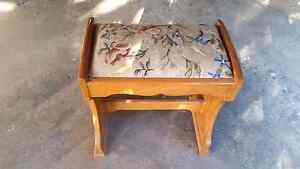 Antique stool with tapestry covered seat Stafford Heights Brisbane North West Preview