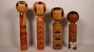 VINTAGE JAPANESE HANDCRAFTED WOODEN KOKESHI DOLLS (x4) - EACH SIGNED & STAMPED