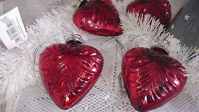 4 Stück / Baumschmuck, Weihnachtsschmuck, Christbaumschmuck, 4x Glas HerzHänger (Herzstück Baum)