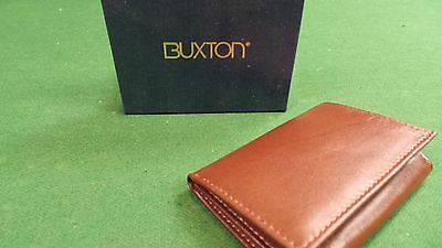 - RICH ~ BUXTON ~ BROWN LEATHER TRI-FOLD WALLET - GIFT FOR BROTHER SON OR DAD