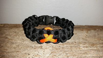Leukemia kidney Cancer Awareness 550 paracord survival bracelet orange ribbon ms](Leukemia Awareness Ribbon)