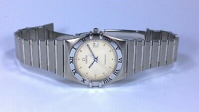 OMEGA Constellation Mens Quartz Watch with Date & Beige Dial and Boxes & Book