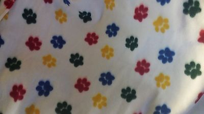 DOG CAT FLEECE BLANKET Personalized Handcrafted 45x60in white w/ multicolor paws