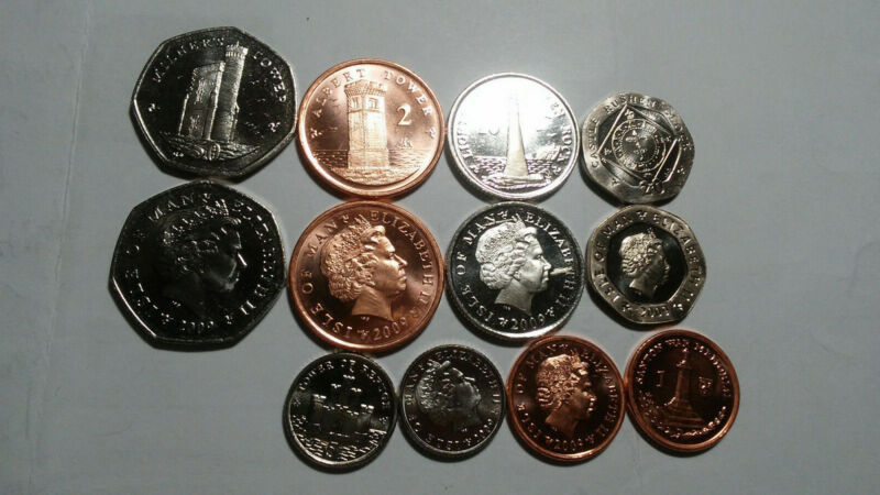 ISLE OF MAN: 6 PIECE UNCIRCULATED COIN SET, 1 TO 50 PENCE
