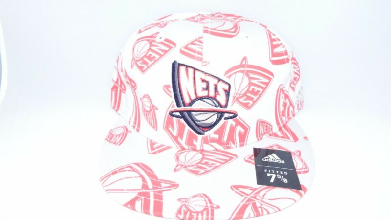 NEW HAT CAP FITTED ADIDAS NEW JERSEY NETS SIZE 8 GREY RED