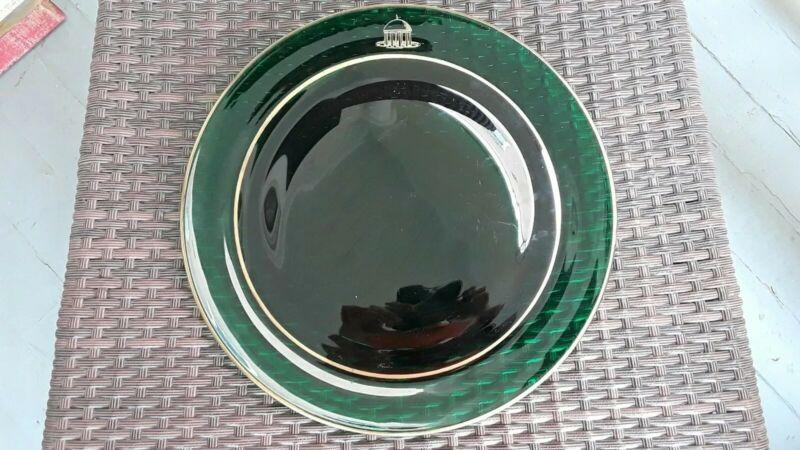 "Greenbrier Hotel Tavern Room  12 1/8"" Forest Green Glass Plate maybe Blenko"