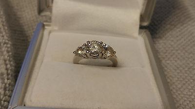 3 carat Round Cut 3 Stone Moissanite Engagement Ring Size 6 3ct 14KT White Gold