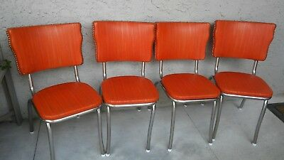 4 Chrome And Orange Vinyl Dinette Chairs Vintage Dining Chair Mid Century