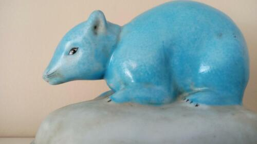 Beautiful Chinese turquoise ceramic rat, stamped