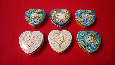 Brighton (lot of 6) Heart Shaped Metal Tins Gift Bracelet Treasure Jewelry Box.