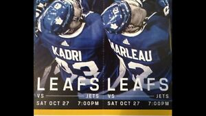 Leaf tickets Oct 27th Toronto Maple Leafs /Jets GOLDS