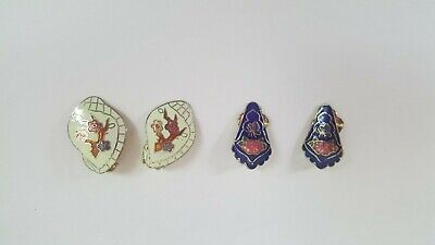 Vintage Clip On Porcelain Earrings Lot of 2 - Costume Jewelry