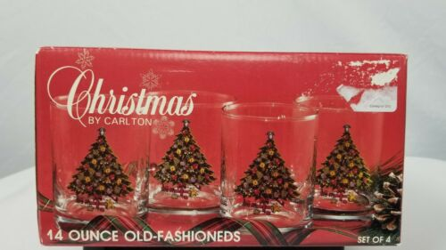 Christmas by Carlton 14oz Old Fashioned Glasses set of 4 in box Holiday Glasswar