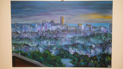 Beautiful City of Adelaide One Off Canvas Painting