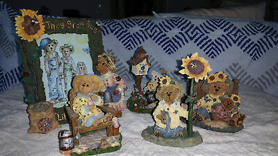 LOT OF 5 BOYDS BEAR GARDEN SUNFLOWER FIGURINE BEARSTONES - BERRIWEATHER VARIETY