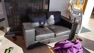 Black Leather Sofa in OK Condition Payneham South Norwood Area Preview
