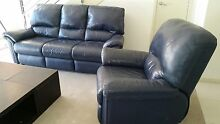 Blue leather sofa and reclining armchair URGENT sale Mascot Rockdale Area Preview