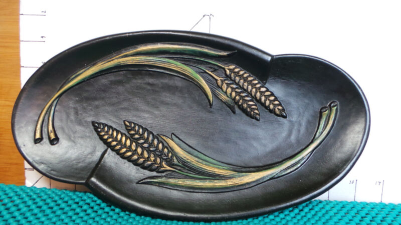 "Wooden Serving Plate, 12"", Black,  BURWOOD, Collectible Kitchen and Tableware"
