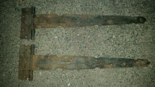 "Set 2 Antique Old Rusty T Strap Barn Door Gate Hinges Large 24"""