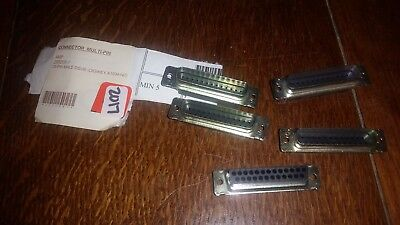 D-sub Connectors Amp 205208-1 25 Pin Male Housing No Pins Lot Of 5
