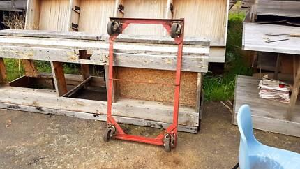 Trolley industrial red castor wheels coffee table heavy duty