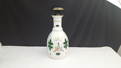 Bohemian Czech white cut to green crystal glass wine decanter bottle