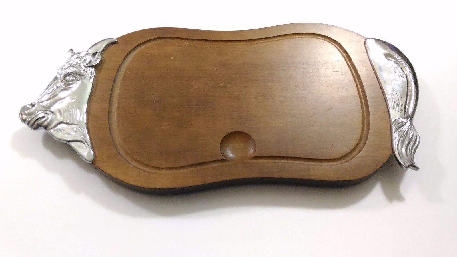 Vassoio vintage in legno e metallo per servire la carne